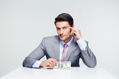Happy businessman holding us dollar bills Royalty Free Stock Image