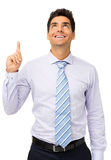 Happy Businessman With An Idea Looking Up Stock Image