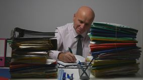 Happy Businessman Image Smile and Work In Financial Archive Room royalty free stock image