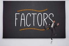 Happy businessman jumping against factors Stock Photos