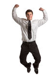 Happy Businessman Jumping in Air Stock Images