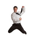 Happy Businessman Jumping in Air Royalty Free Stock Photography
