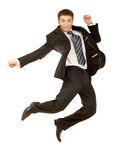 Happy businessman jumping in air Royalty Free Stock Photos