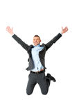 Happy businessman jumping Stock Image