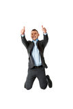 Happy businessman jumping Royalty Free Stock Image