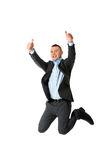 Happy businessman jumping Royalty Free Stock Photos