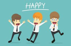 Happy businessman is jumping.Cartoon of business success is the Stock Images