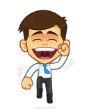 Happy businessman jumping. Clipart picture of a happy businessman cartoon character jumping Stock Photo