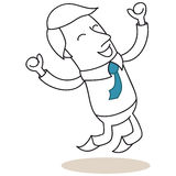 Happy businessman jumping with fists up in the air Royalty Free Stock Image