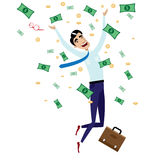 Happy businessman jumping with money Royalty Free Stock Photo