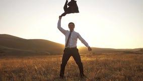 Cheerful businessman feel freedom stock footage