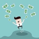 Happy businessman jumping surrounded by money Cute cartoon character Profit successful business concept Stock Photo