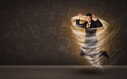 Happy businessman jumping in tornado concept Royalty Free Stock Photography