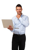 Happy businessman with laptop Stock Photo