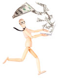Happy businessman with laptop and money explosion Stock Image