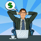 Happy Businessman with Laptop. Office Worker Dreaming About Money Royalty Free Stock Photo