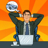 Happy Businessman with Laptop. Office Worker Dreaming About New Car Stock Photos