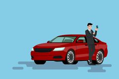 A happy businessman is leaning on his new car and showing his credit card that he use to bought the vehicle. Vector illustration design Royalty Free Stock Image
