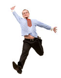 Happy businessman leaping into the air Stock Photos