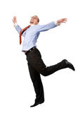 Happy businessman leaping into the air Stock Images