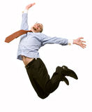 Happy businessman leaping into the air Stock Photography