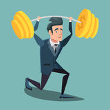 Happy Businessman Lifting Up Barbell with Dollar Sign. Vector cartoon illustration Royalty Free Stock Photography