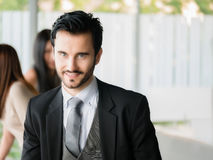Happy businessman looking at the camera,office worker,business decisions Stock Image