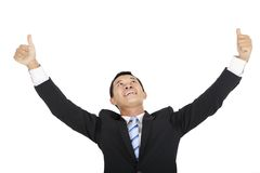 Happy businessman looking up Royalty Free Stock Photography