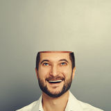 Happy businessman looking up Royalty Free Stock Images