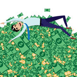 Happy businessman lying on big pile of money Royalty Free Stock Photos