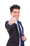 Happy businessman making the ok thumbs up sign Royalty Free Stock Photography