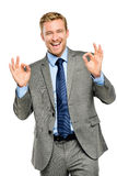 Happy businessman man okay sign - portrait on white background Royalty Free Stock Photography