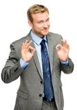 Happy businessman man okay sign - portrait Stock Photography