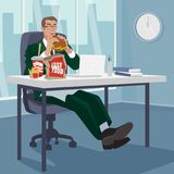 Manager snacking fast food in workplace Stock Photo