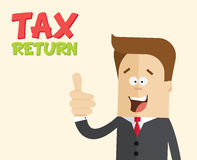 Happy businessman or manager with thumbs up.. Happy businessman or manager with thumbs up. Tax return. A man in a business suit with a tie closeup. Cartoon Royalty Free Stock Photo