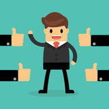 Happy Businessman with many hands thumbs up. feedback concept. Stock Images
