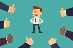 Happy businessman with many thumbs up hands Royalty Free Stock Image