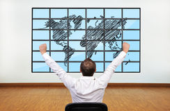 Happy businessman and map Royalty Free Stock Images