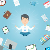 Happy businessman meditating in the office. Business yoga office meditation Stock Image