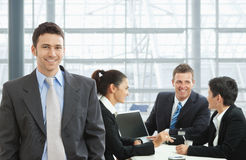 Happy businessman on meeting Stock Images