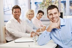 Happy businessman on meeting stock photo