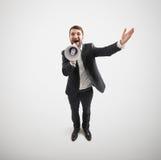 Happy businessman with megaphone Stock Photos