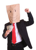 Happy businessman with money in hand stock images