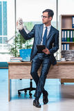 The happy businessman with money sacks in the office Royalty Free Stock Images