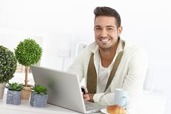 Happy businessman in the morning Royalty Free Stock Image