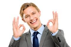 Happy businessman okay sign isolated on white background Stock Photo
