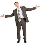 Happy businessman with open mouth Stock Photography