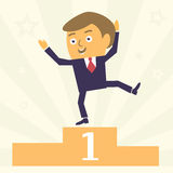 Happy Businessman on pedestal. Happy and Satisfied Cartoon Businessman character win first place. Modern business concept vector illustration Royalty Free Stock Image