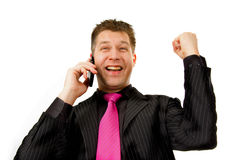 Happy businessman on the phone. Isolated on white background stock photos