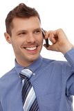 Happy businessman on phone call Stock Images
